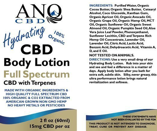 ANO CBD Body Lotion Travel Size 15mg CBD per oz 2oz Label