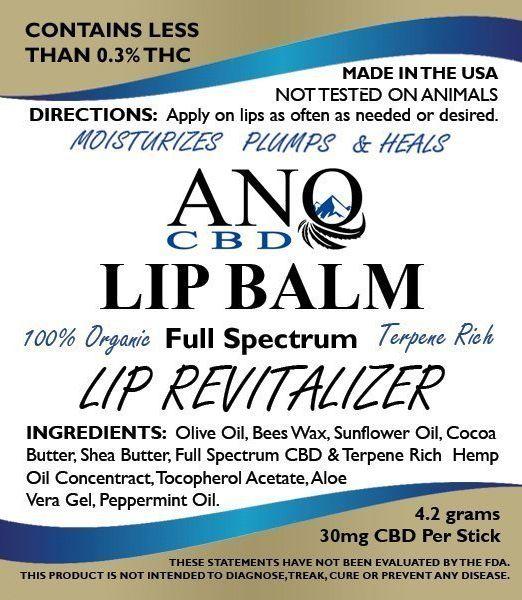 ANO CBD Lip Balm Chap Stick 30mg CBD 4.2g