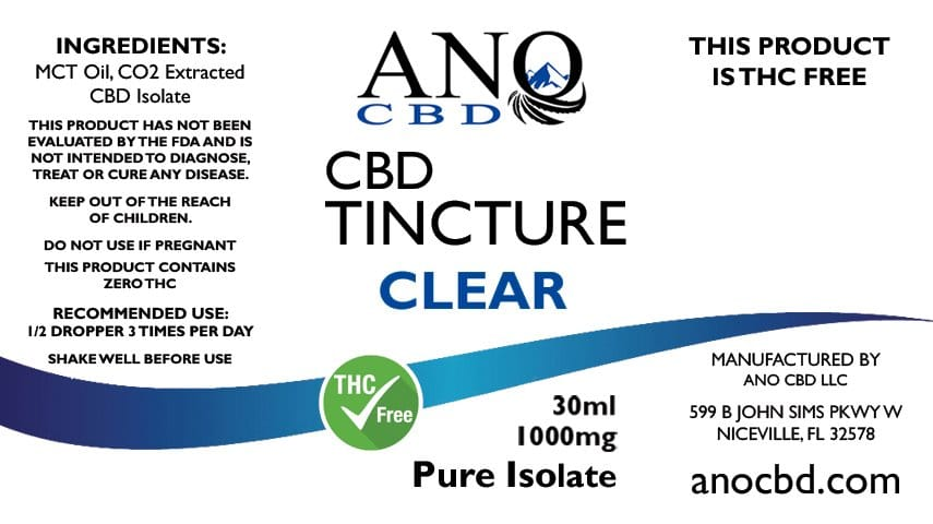 ANO Clear Pure CBD Isolate Hemp Tincture 1000mg 30ml Label