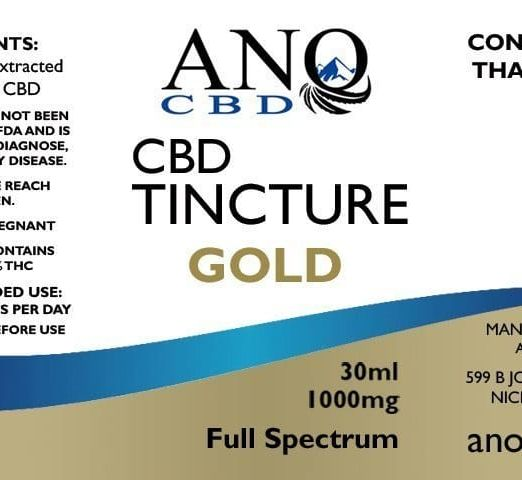 ANO GOLD Full Spectrum CBD Tincture 1000mg 30ml Label