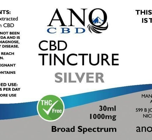 ANO SILVER Broad Spectrum CBD Tincture 1000mg 30ml Label