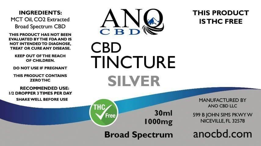 ANO SILVER Broad Spectrum CBD Tincture 1000mg 30ml Label
