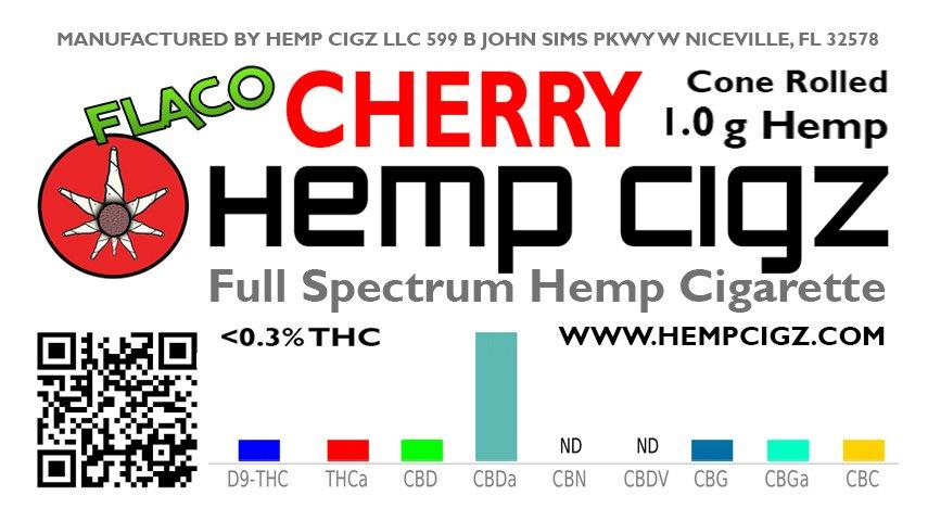 Hemp Cigz CHERRY Hemp Cigarettes Cone Rolled 1g Flaco